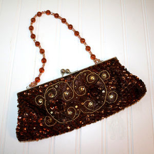 Vintage Brown Beaded Sequin Clutch Purse